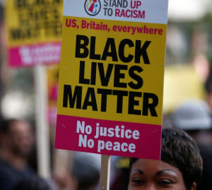 A Black Lives Matter protest in London on Aug. 5.