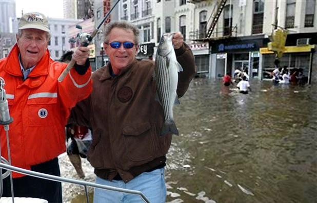 bush men fishing in the New  orleans flood water