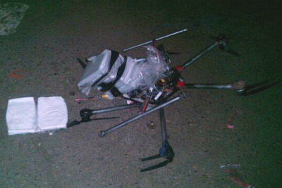 The drug-carrying drone with meth bundles.