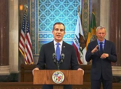 Los Angeles Mayor Eric Garcetti fascist authoritarian dictator
