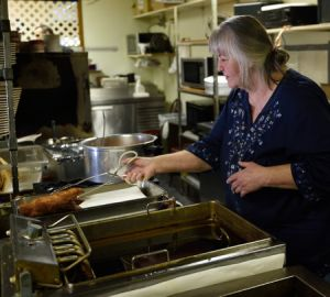 Carole Hinders at her modest, cash-only Mexican restaurant