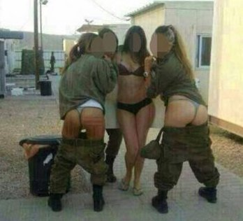 Female Israeli soldiers posing in their underwear and combat gear