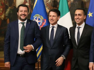 Italy's Interior Minister Matteo Salvini, Prime Minister Giuseppe Conte and Labor and Industry and Deputy PM Luigi Di Maio