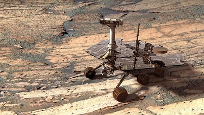 "This visualization of the Opportunity rover on Mars was created using ""Virtual Presence in Space"" technology developed at JPL"