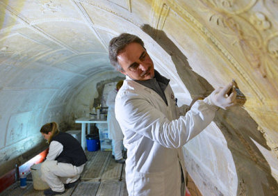 Riccardo Mancinelli, technical director of the team in charge of restoring stucco figures on the walls of the pre-Christian, 1st century, underground basilica of Porta Maggiore