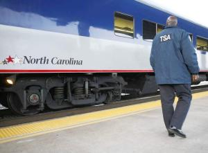 A Transportation Security Administration behavior-detection officer patrols a train station