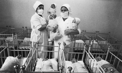 Newborn babies in the Mukarovsky maternity home near Kiev in the aftermath of the 1986 Chernobyl disaster.
