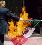 Bush burning Mexican flag? Pissed at his husband Vicente Fox?