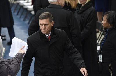 Retired Army Lt. General Michael Flynn arrives for the Presidential Inauguration of Donald Trump at the US Capitol in Washington, DC, January 20, 2017. Flynn is appointed National Security Advisor to Trump. / AFP / POOL / SAUL LOEB (Photo credit should read SAUL LOEB/AFP/Getty Images)