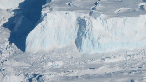An edge of the Thwaites Ice Shelf in Antarctica