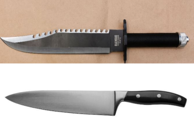 Officers found a large hunting-style knife with a nine-inch blade in his bag