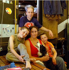 Dinah and Stig Mason with sons Yosse, 8, and Dahli, 9 - wrong kind of masons