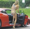 Nude blonde visits petrol station creating public disturbance
