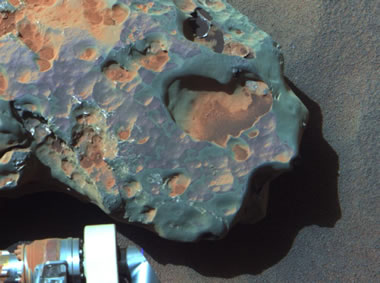 "This is an image of the ""Oileán Ruaidh"" meteorite, found by NASA's Mars Exploration Rover Opportunity in September 2010"
