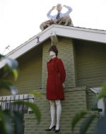 A mannequin portraying US Republican vice-presidential nominee Alaska Governor Sarah Palin hangs by a noose