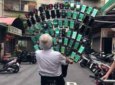 Pokemon Go for this old guy with 64 phones