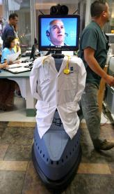 "the robot ---- dubbed ""Iris"" and dressed up in a white doctor's coat, stethoscope and hospital identification badge"