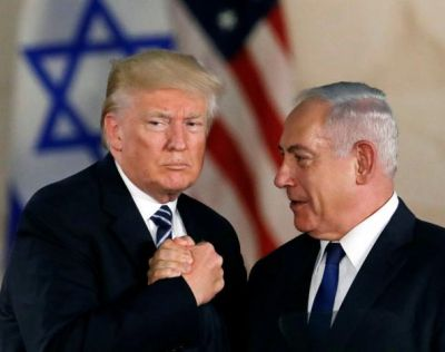 Netanyahu has his hand shoved so far up Trumps ass