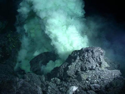 New oceanic crust is born at underwater volcanic chains called spreading ridges